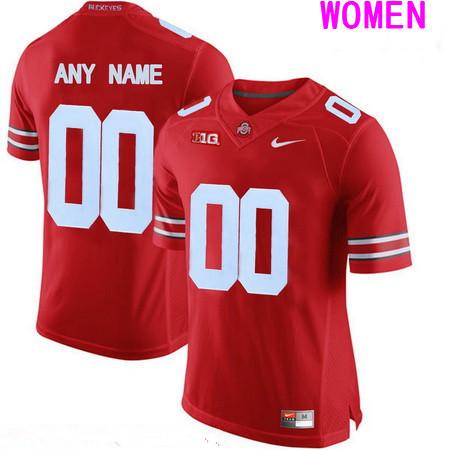 Women's Ohio State Buckeyes Custom College Football Nike Limited Jersey - Red