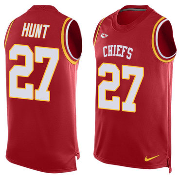 Nike Kansas City Chiefs #27 Kareem Hunt Red Team Color Men's Stitched NFL Limited Tank Top Jersey