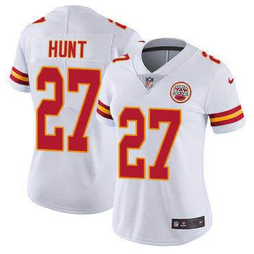 Women's Nike Kansas City Chiefs #27 Kareem Hunt White Stitched NFL Vapor Untouchable Limited Jersey