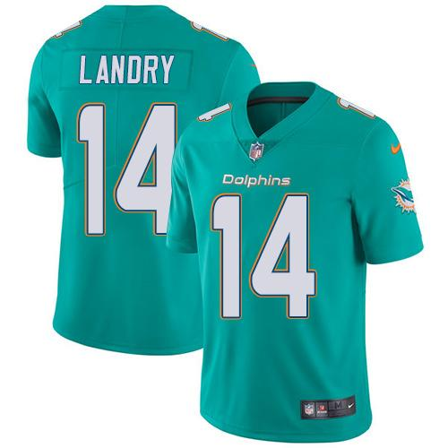 ID91465 Youth Nike Dolphins #14 Jarvis Landry Aqua Green Team Color Stitched NFL Vapor Untouchable Limited Jersey