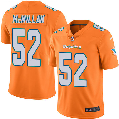 ID91443 Youth Nike Dolphins #52 Raekwon McMillan Orange Stitched NFL Limited Rush Jersey