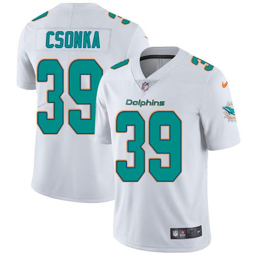 Youth Nike Dolphins #39 Larry Csonka White Stitched NFL Vapor Untouchable Limited Jersey