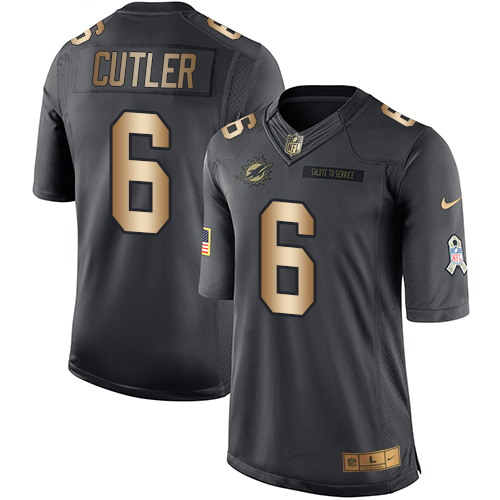 ID91450 Youth Nike Dolphins #6 Jay Cutler Black Stitched NFL Limited Gold Salute to Service Jersey