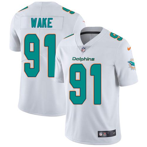 Youth Nike Dolphins #91 Cameron Wake White Stitched NFL Vapor Untouchable Limited Jersey