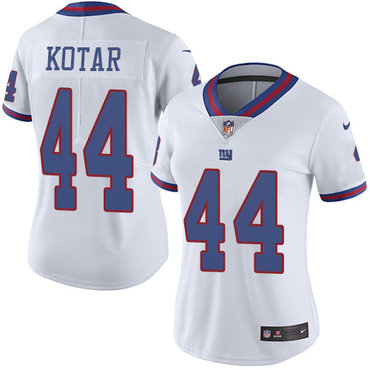 Women's Nike Giants #44 Doug Kotar White Stitched NFL Limited Rush Jersey