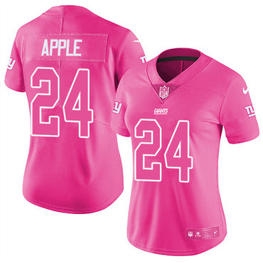 Women's Nike Giants #24 Eli Apple Pink Stitched NFL Limited Rush Fashion Jersey