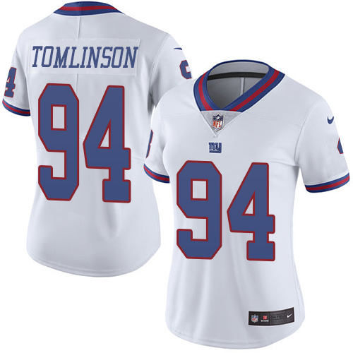 Women's Nike Giants #94 Dalvin Tomlinson White Stitched NFL Limited Rush Jersey