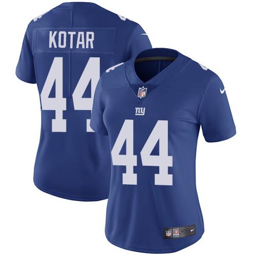 ID91413 Women\'s Nike Giants #44 Doug Kotar Royal Blue Team Color Stitched NFL Vapor Untouchable Limited Jersey