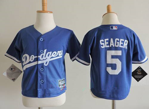 Toddler Los Angeles Dodgers #5 Corey Seager Royal Blue Stitched MLB Majestic Cool Base Jersey