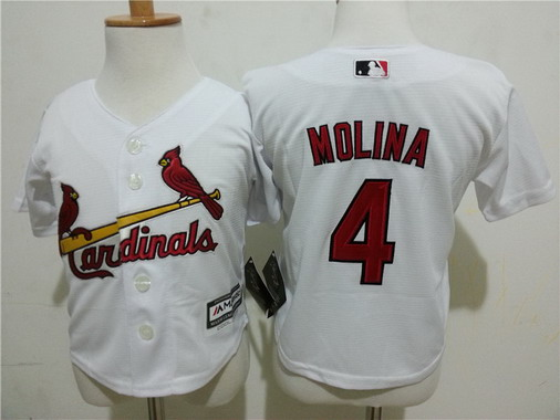 Toddler St. Louis Cardinals #4 Yadier Molina Home White MLB Majestic Baseball Jersey