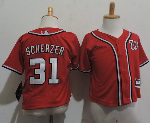 Toddler Washington Nationals #31 Max Scherzer Red Stitched MLB Majestic Cool Base Jersey