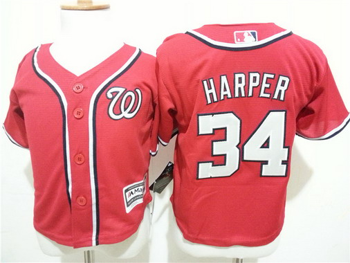 Toddler Washington Nationals #34 Bryce Harper Alternate Red MLB Majestic Baseball Jersey