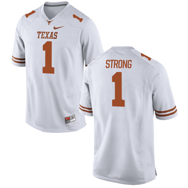 Men\u0027s Texas Longhorns 1 Charlie Strong White Nike College Jersey
