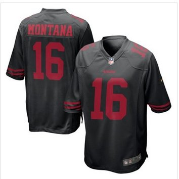 New San Francisco 49ers #16 Joe Montana Black Alternate Game Jersey