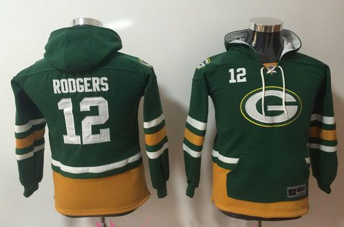 Youth Green Bay Packers #12 Aaron Rodgers NEW Green Pocket Stitched NFL Pullover Hoodie
