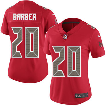 Women's Nike Buccaneers #20 Ronde Barber Red Stitched NFL Limited Rush Jersey