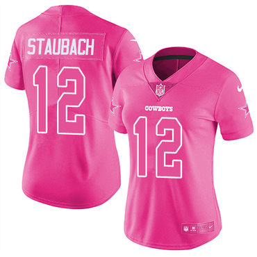 172c4d1ba4b Nike Cowboys #12 Roger Staubach Pink Women's Stitched NFL Limited Rush  Fashion Jersey