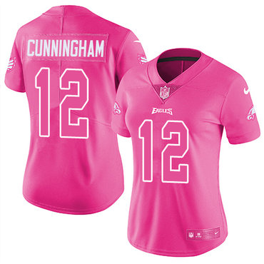 ee388459d21 Nike Eagles  12 Randall Cunningham Pink Women s Stitched NFL Limited Rush  Fashion Jersey