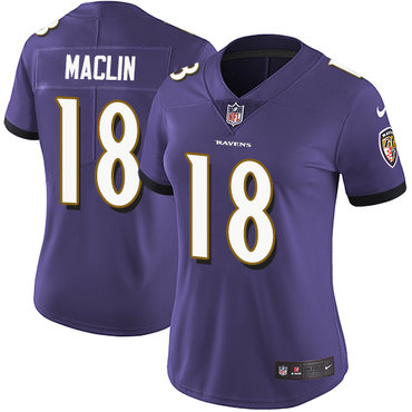 2ebd03709df Women's Nike Ravens #18 Jeremy Maclin Purple Team Color Stitched NFL Vapor  Untouchable Limited Jersey