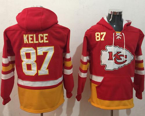 Nike Kansas City Chiefs #87 Travis Kelce Red Gold Name & Number Pullover NFL Hoodie