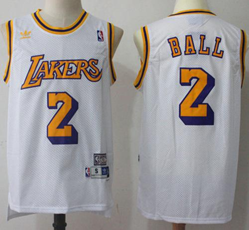 Los Angeles Lakers #2 Lonzo Ball White Throwback Stitched NBA Jersey