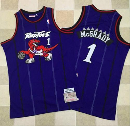 62a038cb507 ... Mitchell And Ness Toronto Raptors 1 Tracy Mcgrady Purple Throwback  Stitched NBA Jersey .