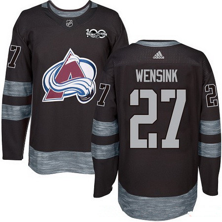 Men's Colorado Avalanche #27 John Wensink Black 100th Anniversary Stitched NHL 2017 adidas Hockey Jersey
