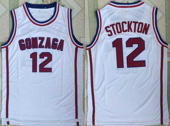 Men's Gonzaga Bulldogs #12 John Stockton White College Basketball Retro Swingman Stitched NCAA Jersey