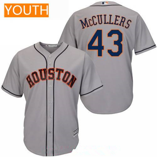 Youth Houston Astros #43 Lance McCullers Jr. Gray Road Stitched MLB Majestic Cool Base Jersey