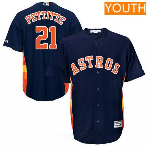 Youth Houston Astros #21 Andy Pettitte Retired Navy Blue Stitched MLB Majestic Cool Base Jersey