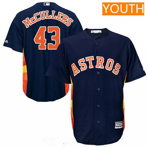 Youth Houston Astros #43 Lance McCullers Jr. Navy Blue Alternate Stitched MLB Majestic Cool Base Jersey