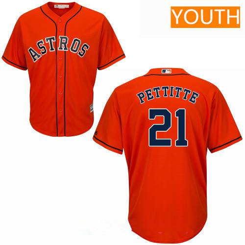 Youth Houston Astros #21 Andy Pettitte Retired Orange Stitched MLB Majestic Cool Base Jersey