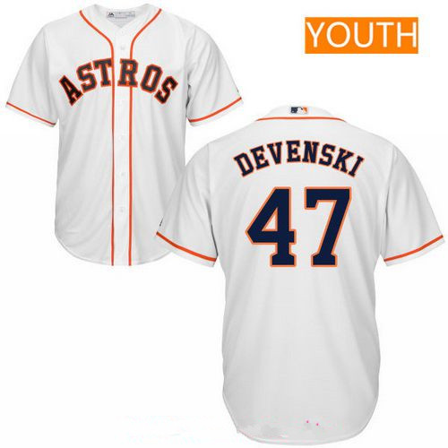 Youth Houston Astros #47 Chris Devenski White Home Stitched MLB Majestic Cool Base Jersey