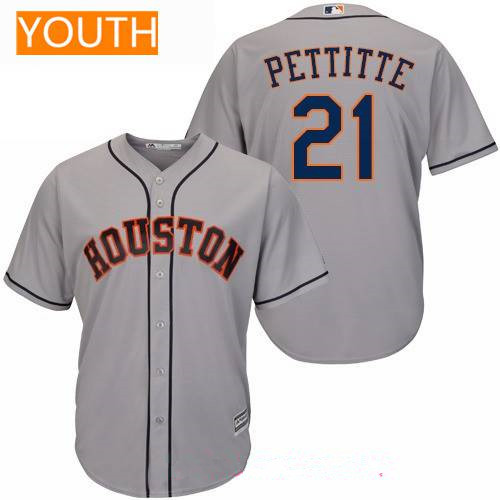 Youth Houston Astros #21 Andy Pettitte Retired Gray Road Stitched MLB Majestic Cool Base Jersey