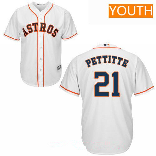 Youth Houston Astros #21 Andy Pettitte Retired White Home Stitched MLB Majestic Cool Base Jersey
