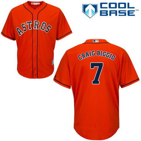 Youth Houston Astros #7 Craig Biggio Retired Orange Stitched MLB Majestic Cool Base Jersey