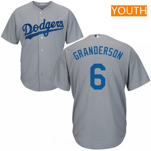 Youth Los Angeles Dodgers #6 Curtis Granderson Gray Alternate Stitched MLB Majestic Cool Base Jersey