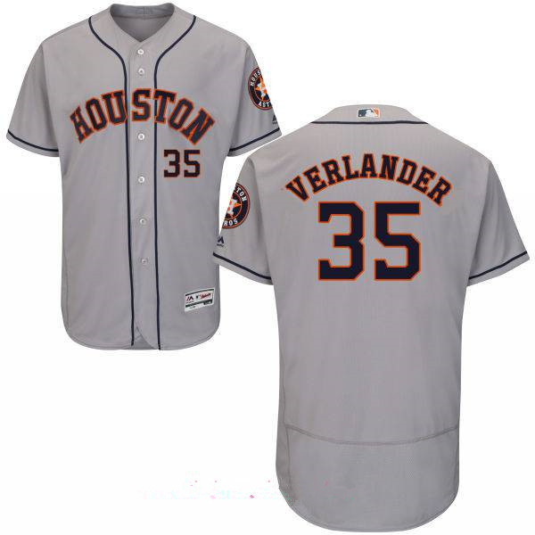 Men's Houston Astros #35 Justin Verlander Gray Road Stitched MLB Majestic Flex Base Jersey