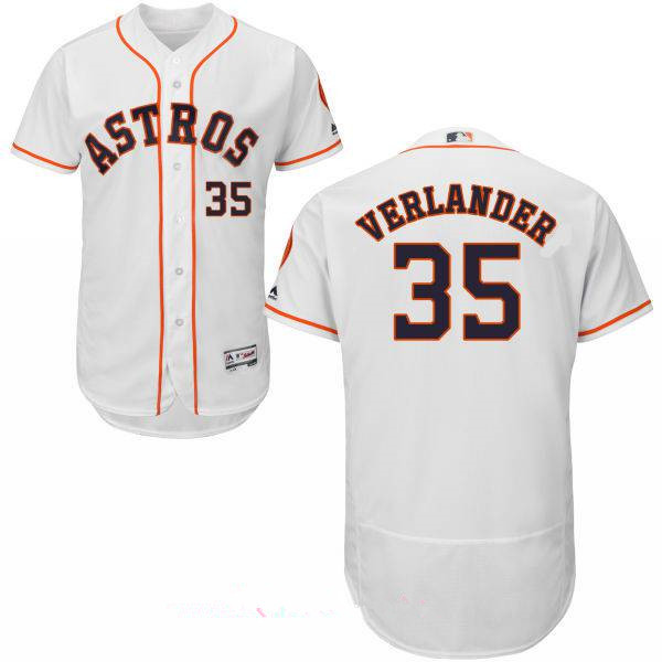 Men's Houston Astros #35 Justin Verlander White Home Stitched MLB Majestic Flex Base Jersey