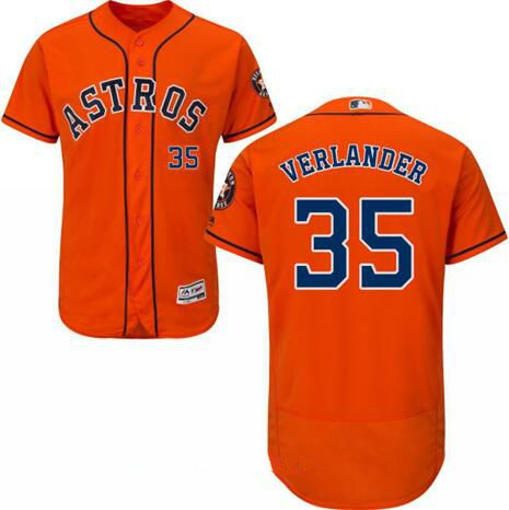 Men's Houston Astros #35 Justin Verlander Orange Stitched MLB Majestic Flex Base Jersey