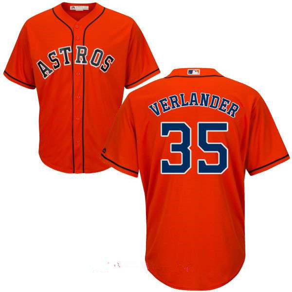 Men's Houston Astros #35 Justin Verlander Orange Stitched MLB Majestic Cool Base Jersey