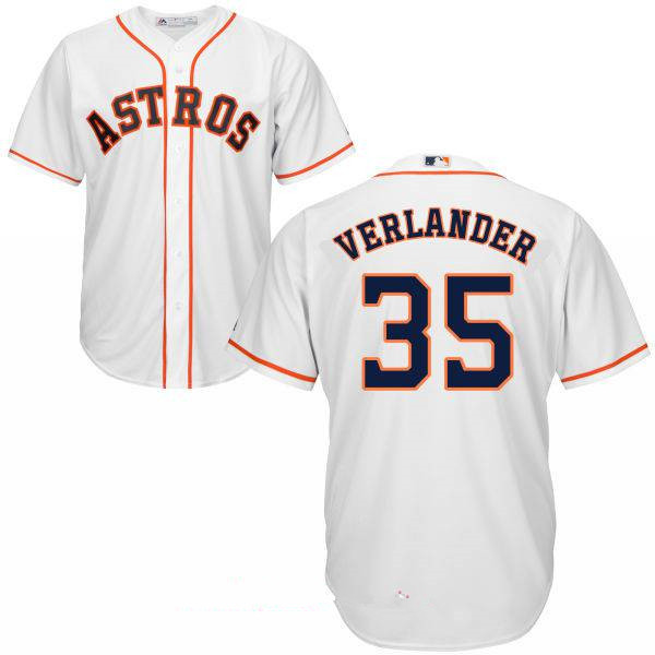 Men's Houston Astros #35 Justin Verlander White Home Stitched MLB Majestic Cool Base Jersey