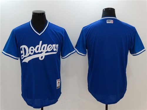 Men's Los Angeles Dodgers Blank Majestic Royal 2017 Little League World Series Players Weekend Stitched Nickname Jersey