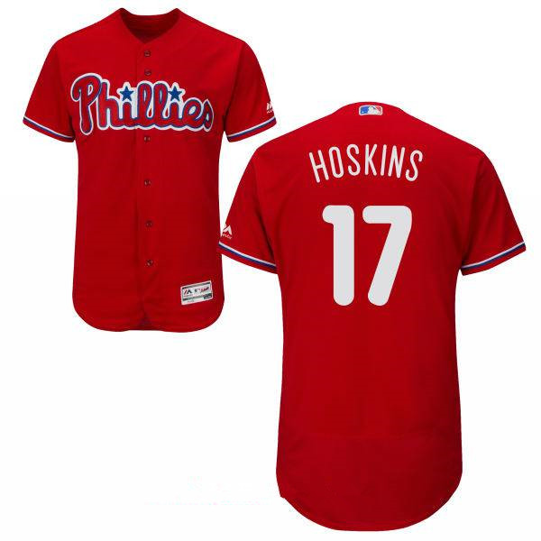 Men's Philadelphia Phillies #17 Rhys Hoskins Red Stitched MLB Majestic Flex Base Jersey