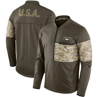 Nike New York Jets Olive Salute to Service Sideline Hybrid Half-Zip Pullover Jacket