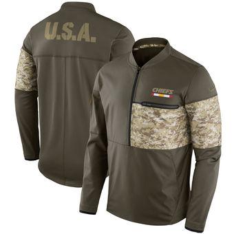 Nike Kansas City Chiefs Olive Salute to Service Sideline Hybrid Half-Zip Pullover Jacket