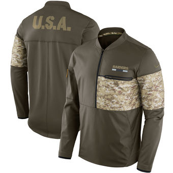 Nike Oakland Raiders Olive Salute to Service Sideline Hybrid Half-Zip Pullover Jacket