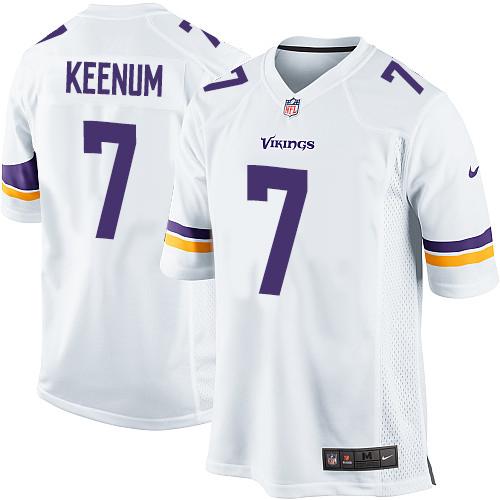 Men's Nike Minnesota Vikings #7 Case Keenum Game White NFL Jersey