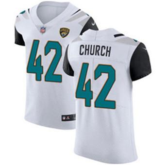 Men's Nike Jacksonville Jaguars #42 Barry Church White Stitched NFL Vapor Untouchable Elite Jersey