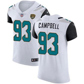 Men's Nike Jacksonville Jaguars #93 Calais Campbell White Stitched NFL Vapor Untouchable Elite Jersey